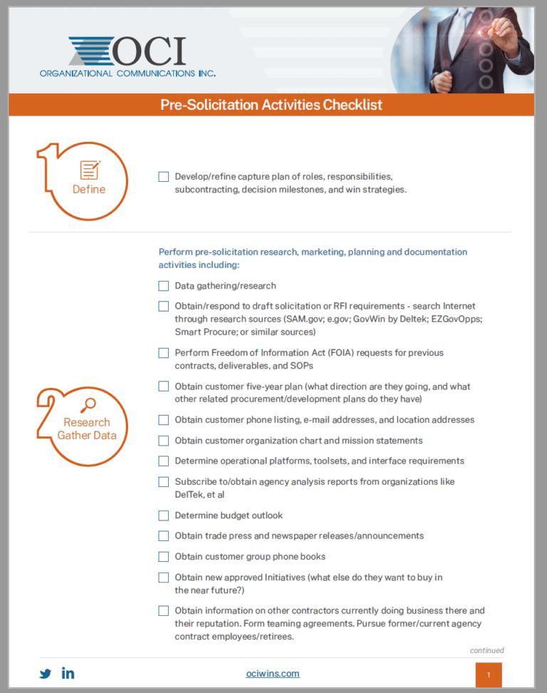 OCI Pre-solicitation Checklist